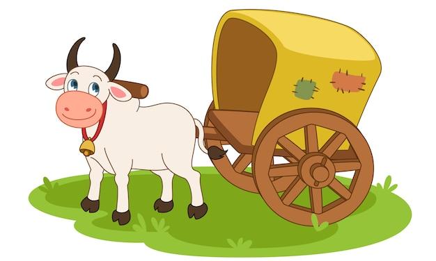Bullock cart cartoon vector illustratie Gratis Vector