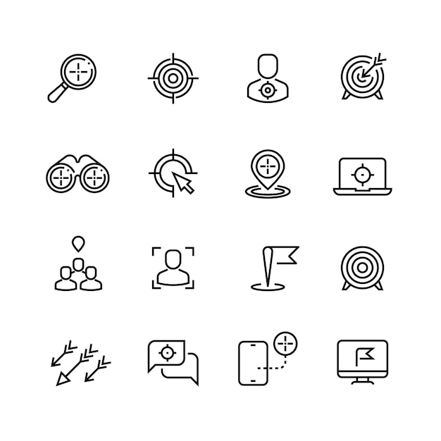 Bullseye, klantgerichtheid en lijnpictogrammen Premium Vector