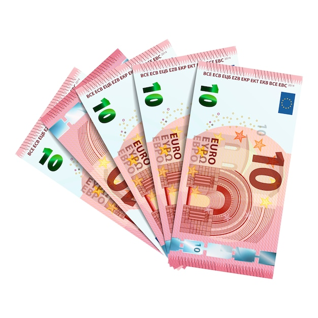 Bundel bankbiljetten van 10 euro Premium Vector
