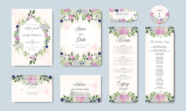 Bundel en set bruiloft uitnodiging in bloemen sjabloon Premium Vector