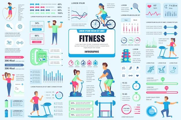 Bundel fitness en sport infographic ui-, ux-, kit-elementen Premium Vector