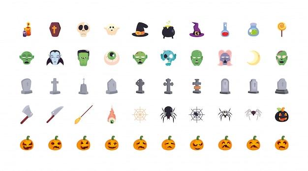Bundel halloween met set van pictogrammen Premium Vector