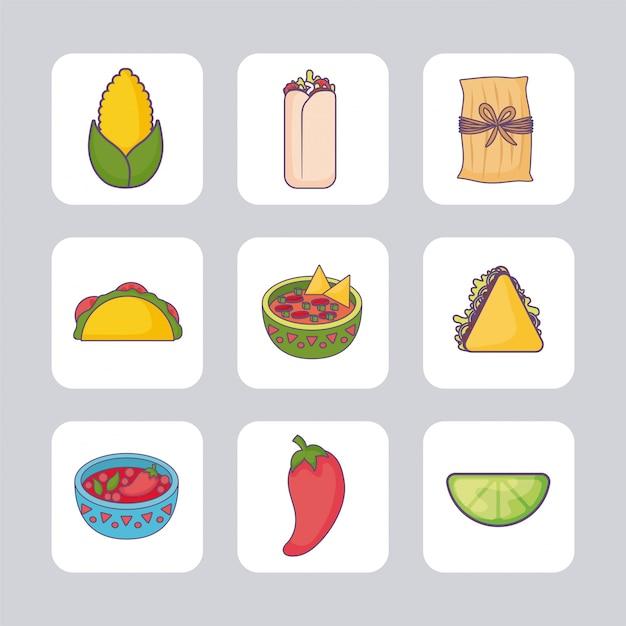 Bundel mexicaans eten met set pictogrammen Premium Vector