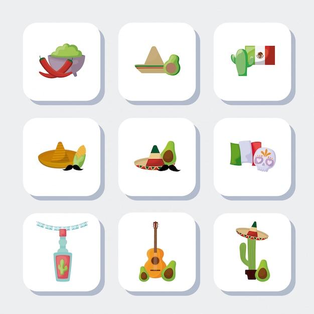Bundel mexicaanse traditionele set pictogrammen Premium Vector