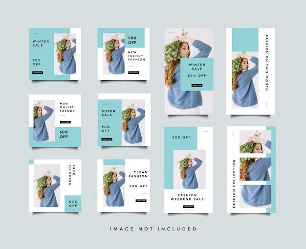 Bundel minimalistische sociale media post & instagram verhalen ontwerpsjabloon Premium Vector