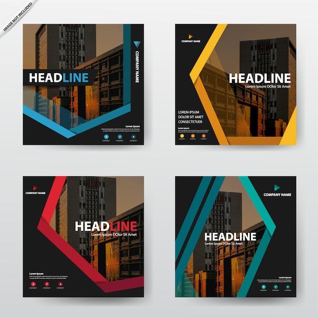Bundel moderne brochure flyer sjabloon ontwerpset Premium Vector