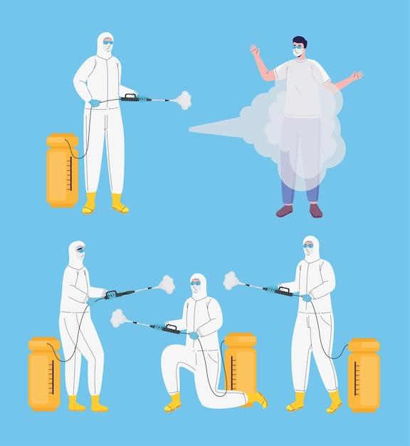 Bundel van arbeiders die biohazardpakken dragen die illustratie desinfecteren Premium Vector