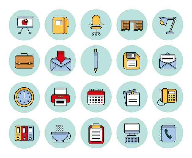 Bundel van bedrijfs vastgestelde pictogrammen Gratis Vector