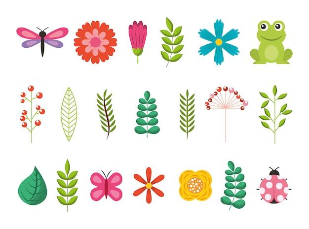 Bundel van bloemen met bladeren en dieren tuin Gratis Vector