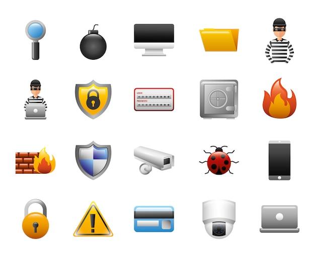 Bundel van cyberbeveiligingspictogrammen Gratis Vector