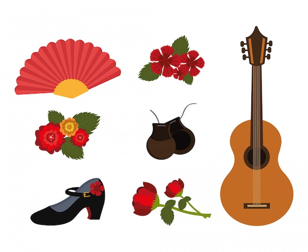 Bundel van dans flamenco en set pictogrammen Gratis Vector