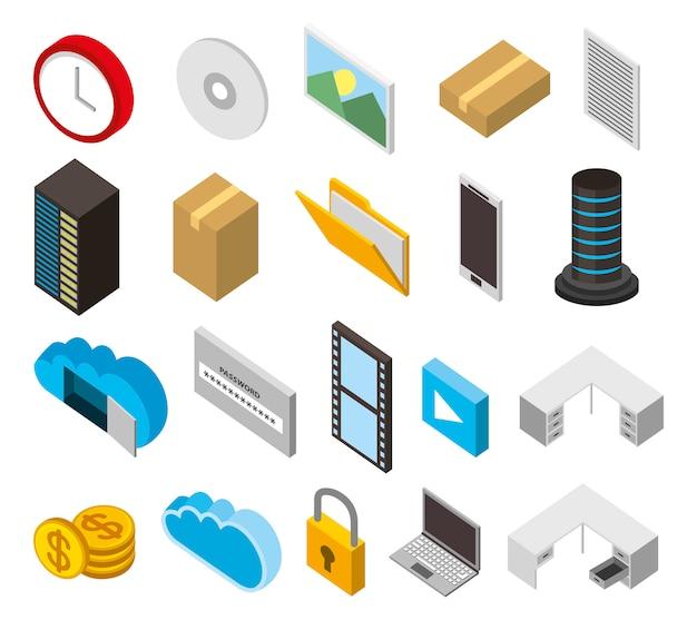 Bundel van datacenter opslag isometrische set pictogrammen Gratis Vector