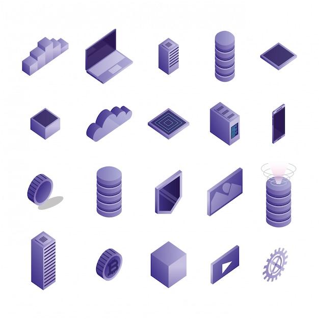 Bundel van datacenterpictogrammen Gratis Vector