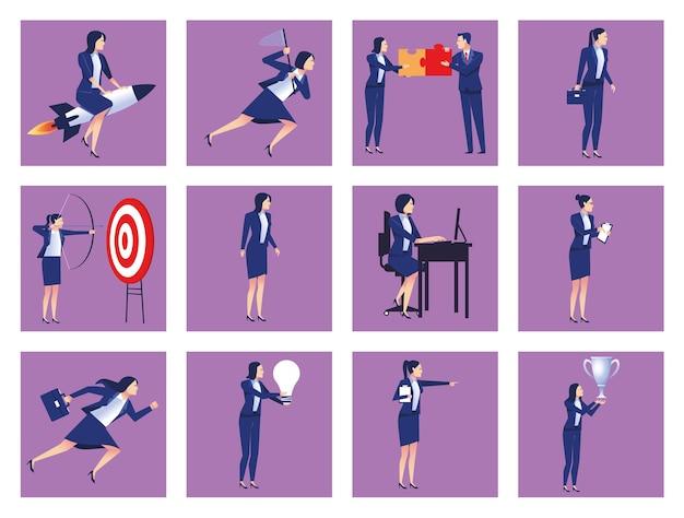 Bundel van dertien elegante zakenmensen avatars karakters illustratie Premium Vector