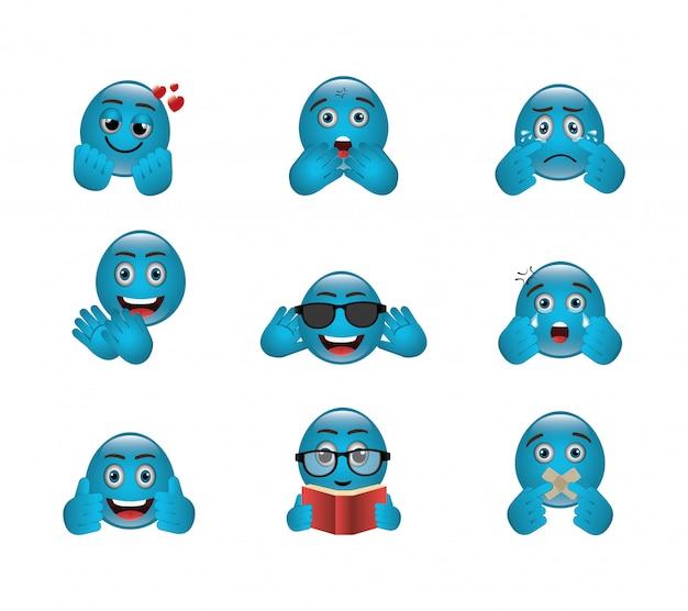 Bundel van emoticons met uitdrukkingen Gratis Vector