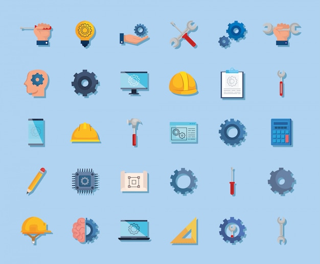 Bundel van engineering set pictogrammen Gratis Vector