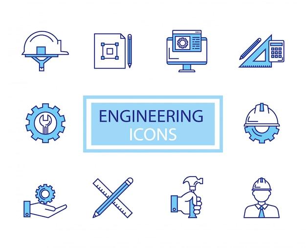 Bundel van engineering set pictogrammen Gratis Vector