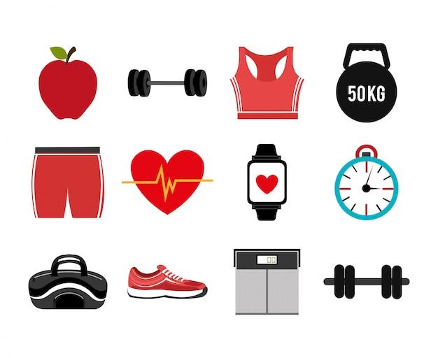 Bundel van fitness set pictogrammen Gratis Vector