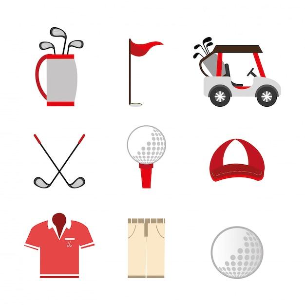 Bundel van golf set pictogrammen Gratis Vector