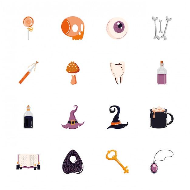 Bundel van halloween set pictogrammen Gratis Vector