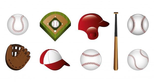 Bundel van honkbal en pictogrammen Gratis Vector
