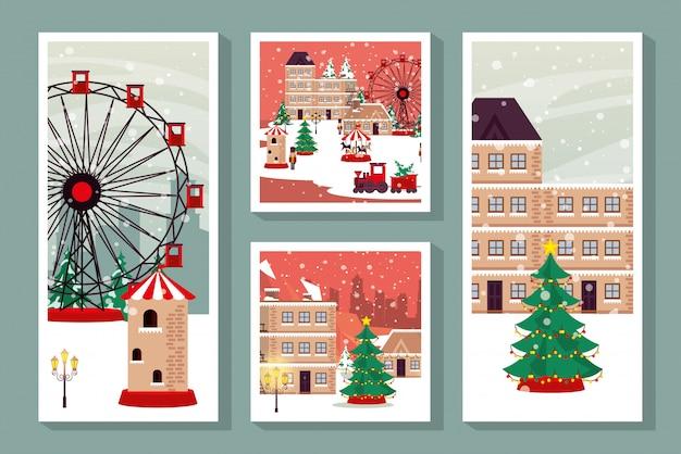 Bundel van kerst winter straattaferelen Premium Vector