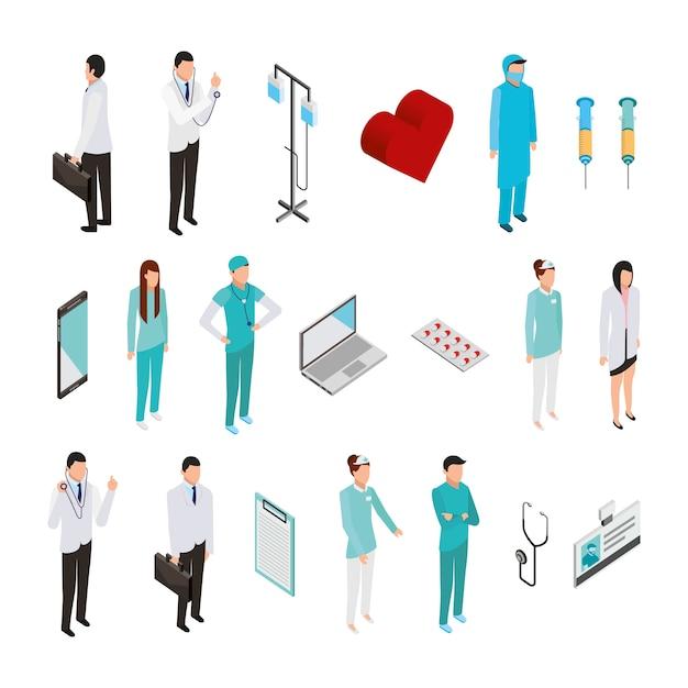 Bundel van medisch personeel en pictogrammen Gratis Vector