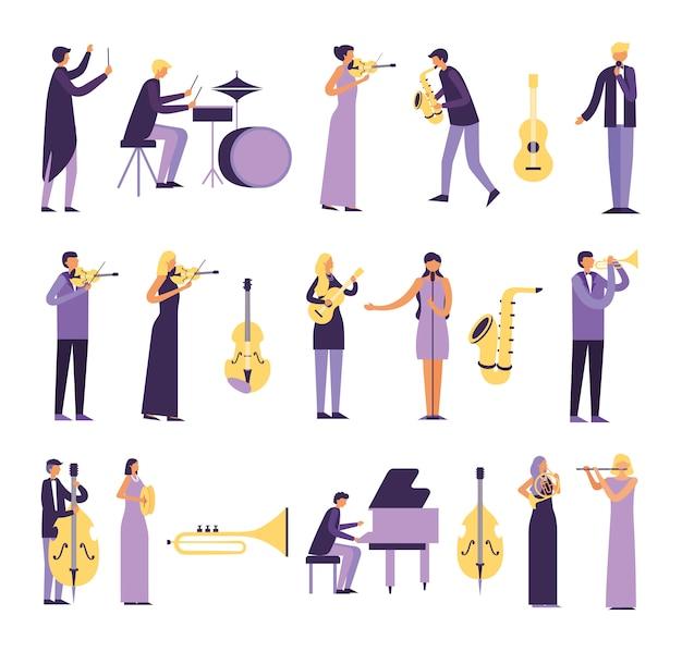 Bundel van mensen die instrumenten spelen Gratis Vector
