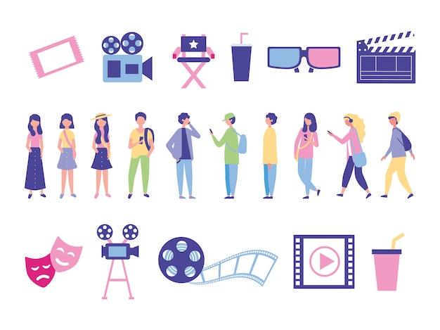 Bundel van mensen en bioscoop entertainment pictogrammen Gratis Vector