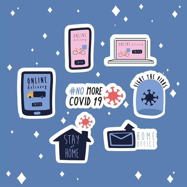 Bundel van nieuwe norm beletteringen campagne decorontwerp vlakke stijl iconen illustratie Premium Vector