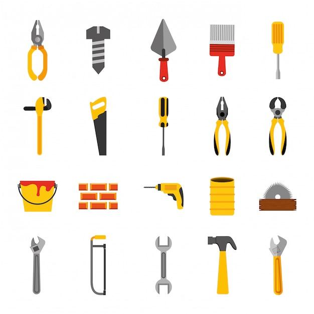 Bundel van pictogrammen van de bouwhulpmiddelen Gratis Vector