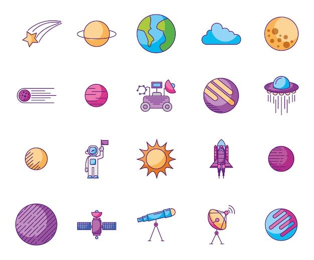 Bundel van planeten en ruimtepictogrammen Gratis Vector