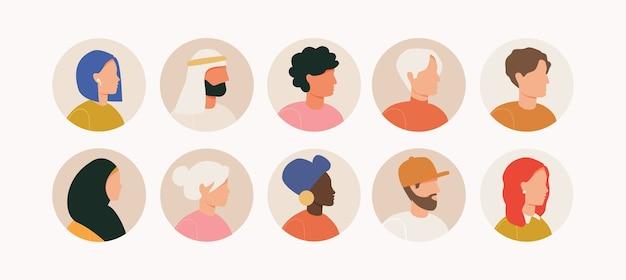 Bundel van verschillende avatars voor mensen. set mannelijke en vrouwelijke portretten. mannen en vrouwen avatar karakters. Premium Vector