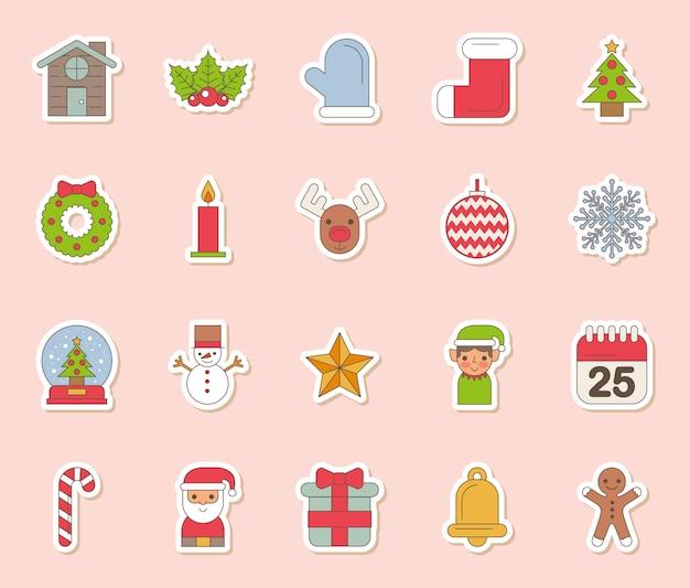 Bundel van vrolijke kerstmis vastgestelde pictogrammen Gratis Vector