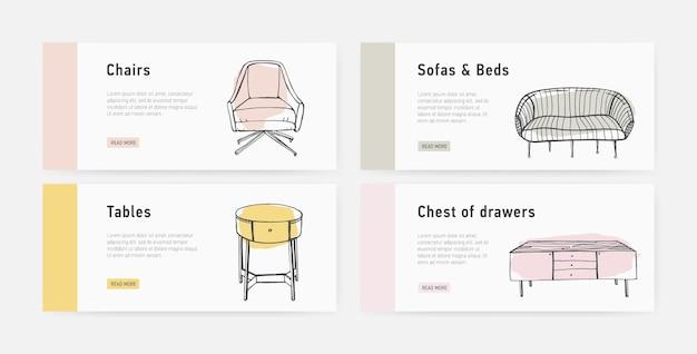 Bundel van webbannersjablonen met verschillende soorten gezellige meubels in trendy scandic-stijl Premium Vector