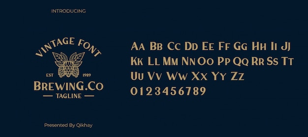 Bunga vintage lettertype Premium Vector