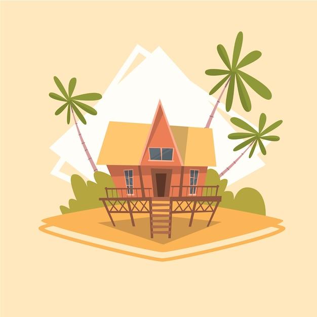 Bungalow huis pictogram zomer zee vakantie concept zomervakantie Premium Vector