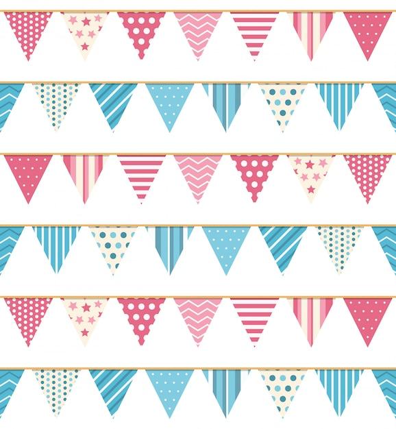 Bunting naadloos patroon, bunting achtergrond, roze en blauwe bunting Premium Vector