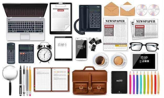 Bureau voor laptop en kantoorbenodigdheden Premium Vector