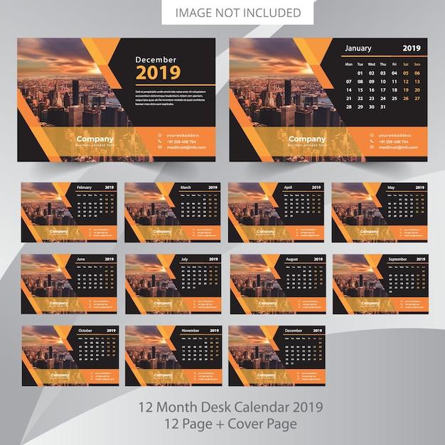 Bureaukalender 2019 plannersjabloon Premium Vector