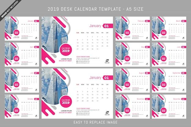 Bureaukalender 2019-sjabloon a5-formaat Premium Vector