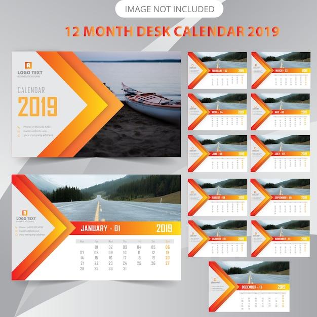 Bureaukalender 2019 Premium Vector