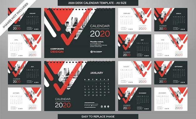 Bureaukalender 2020-sjabloon - 12 maanden inbegrepen Premium Vector