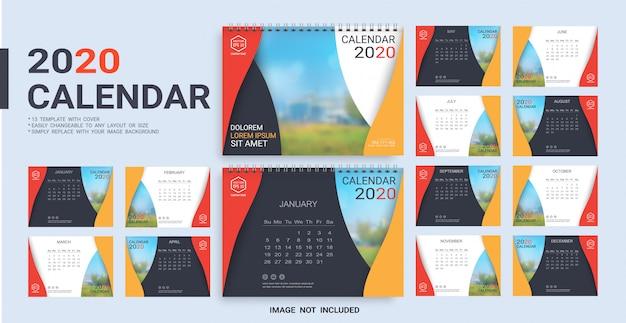 Bureaukalender 2020-sjabloon Premium Vector