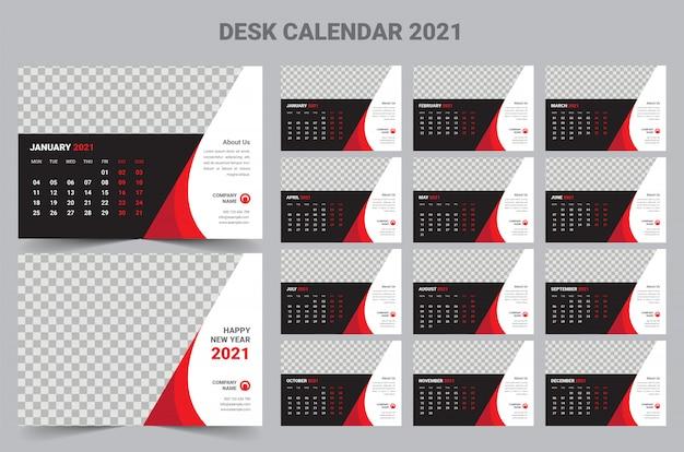 Bureaukalender 2021 Premium Vector