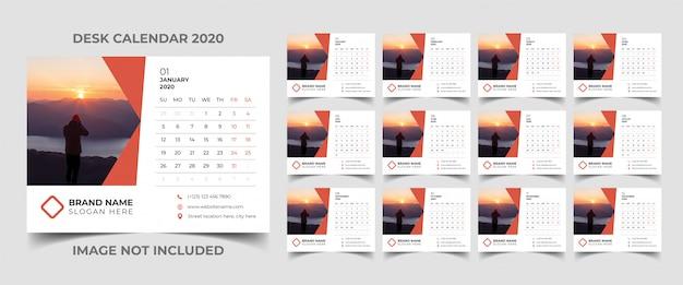 Bureaukalender sjabloon 2020 Premium Vector