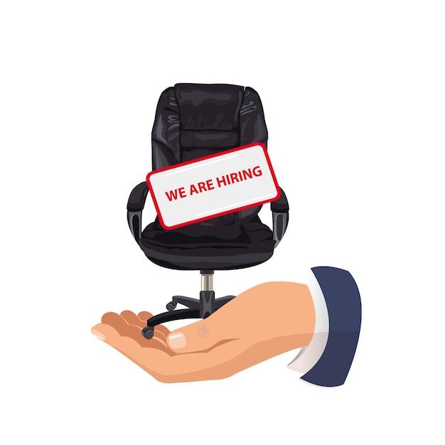 Bureaustoel en teken leeg. werving Premium Vector