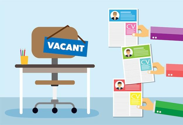 Bureaustoel en teken vacature in de hand van de baas Premium Vector