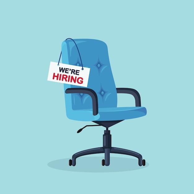 Bureaustoel met leeg bord. zakelijk inhuren, wervingsconcept. vrije zetel voor werknemer, werknemer Premium Vector