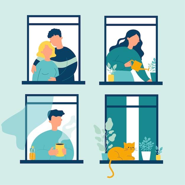 Buren en katten leven door openstaande ramen Premium Vector
